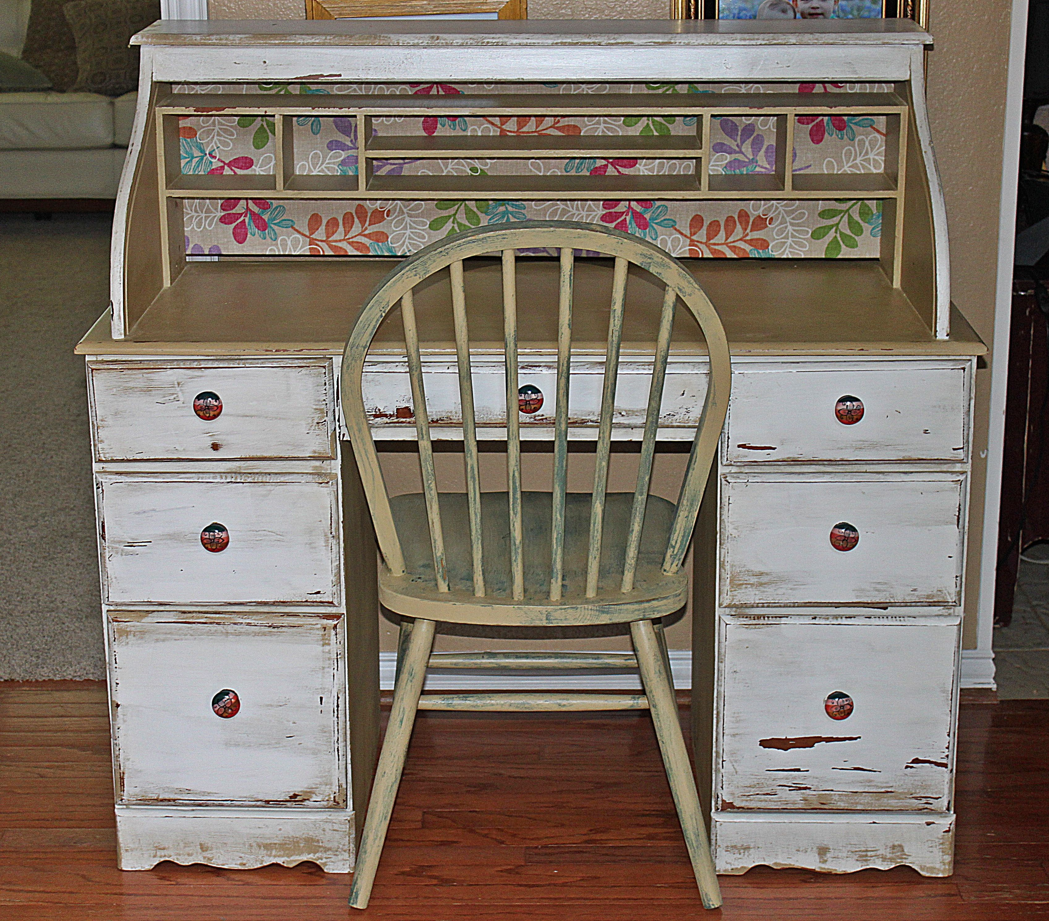 A Very Old Desk With Antique White Over Beige And
