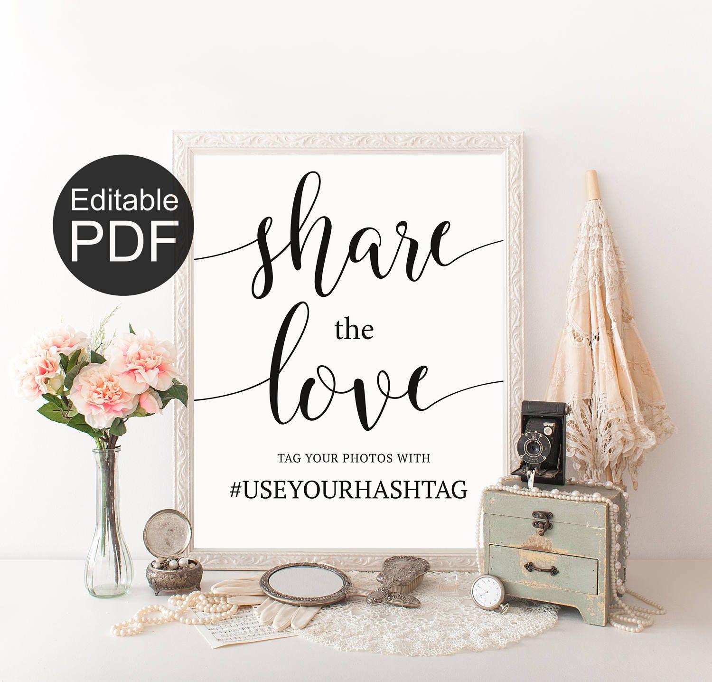 Wedding Hashtag Sign Template, Custom Share the Love Sign, Instagram ...