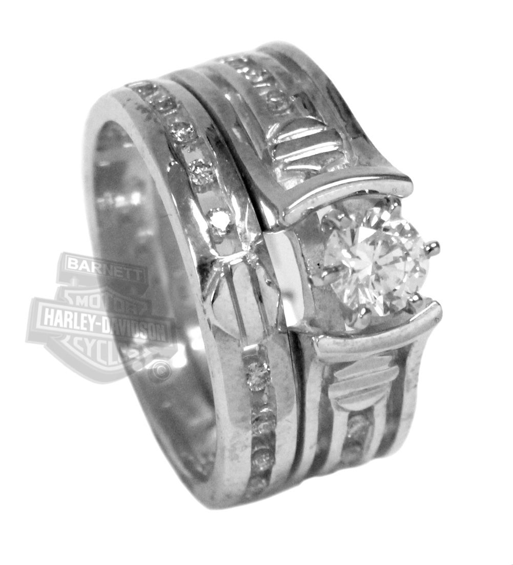 It is just a photo of Wedding Set Silver Ring Harley davidson wedding rings, Harley