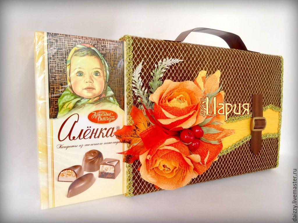 """Купить Портфель из конфет """"Яркая осень"""" - коричневый, портфель, осень, день учителя, день воспитателя"""