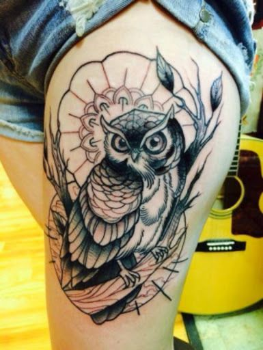 Owl Tattoo with Flower Background