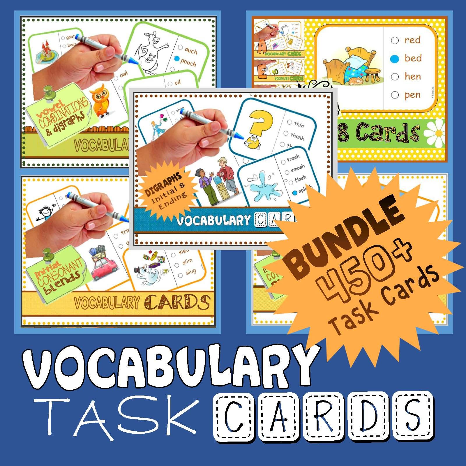 Phonics Multiple Choice Task Cards 750 Cards Mega Bundle
