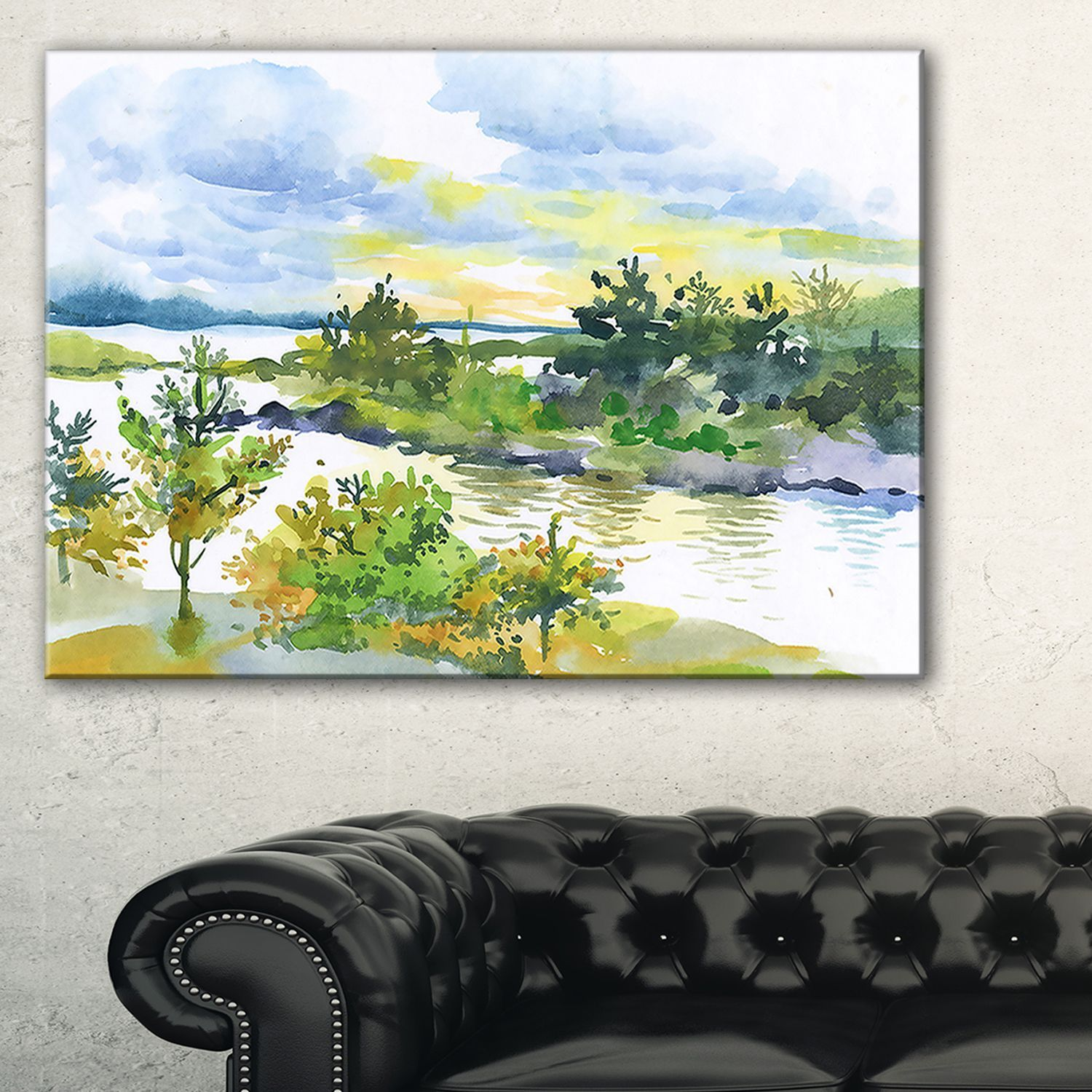 Autumn Forest (Green) And Lake Watercolor  Landscape Wall Art