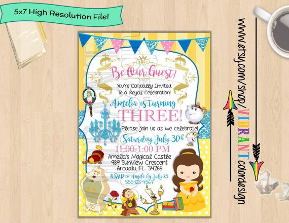 Beauty and the beast invitation belle birthday invitation disney beauty and the beast invitation belle birthday invitation disney princess birthday party little girl birthday invites cute girl birthday filmwisefo Gallery
