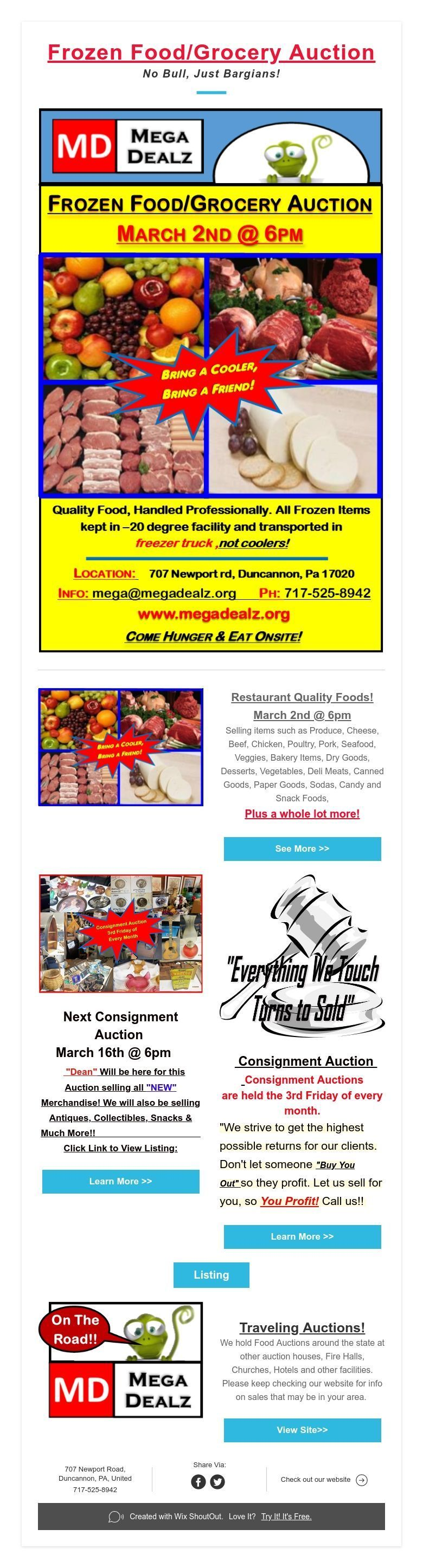 Frozen foodgrocery auction no bull just bargians food