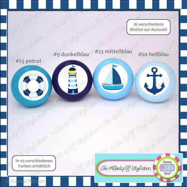 Möbelgriffe 4er Set Kinder Möbelgknäufe maritim hellblau
