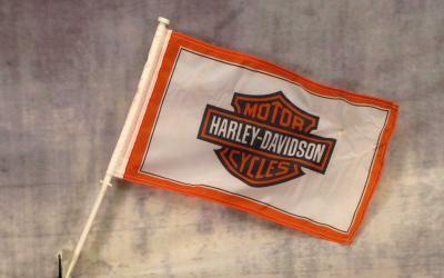 Harley Davidson White and Orange Car Window Mount Flag
