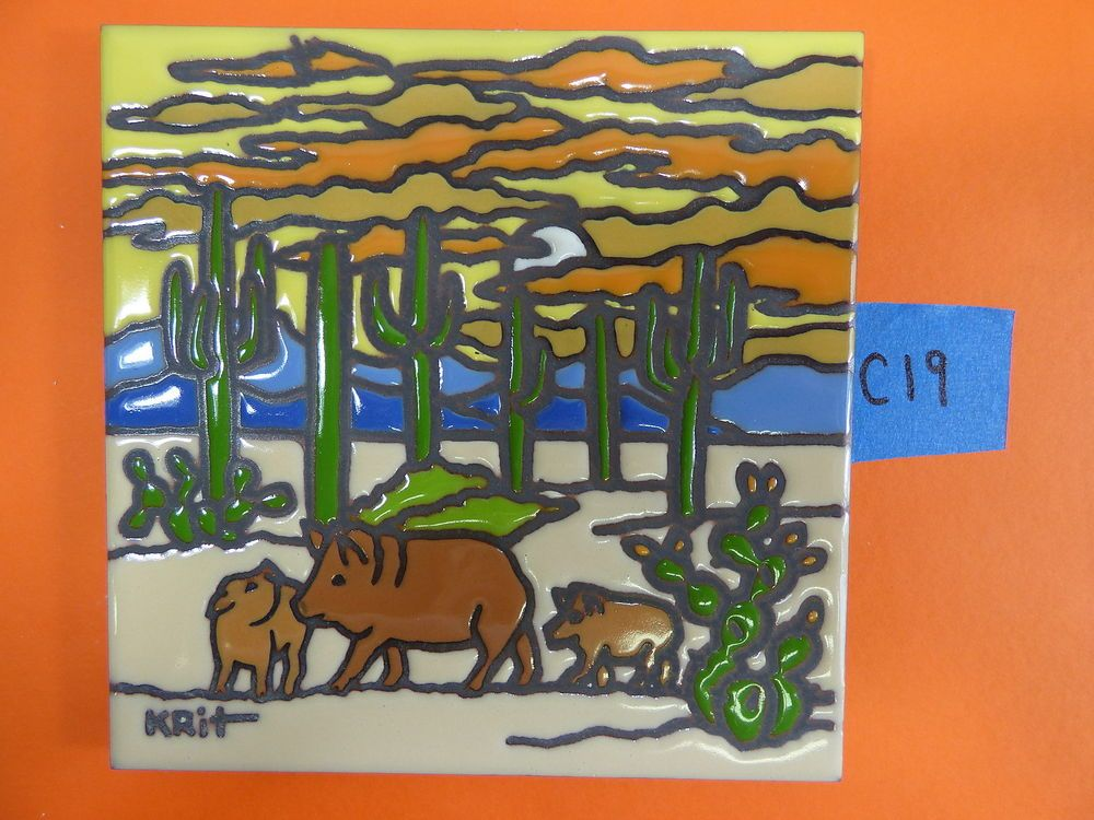 Ceramic Art Tile 6 X6 Kirt Javelina Family Sunset Saguaro Southwest Scene C19 Tile Art Art Javelina