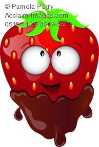 clip art image of a fresh strawberry with a happy face dipped in chocolate