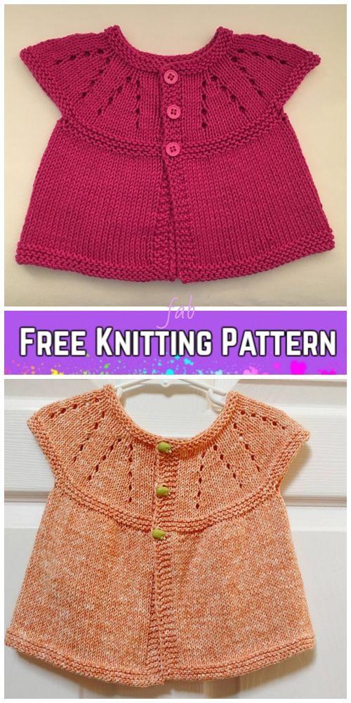 Girls All-in-One Sleeveless Sweater Top Cardigan Free Knitting Pattern (Newborn-6Y)