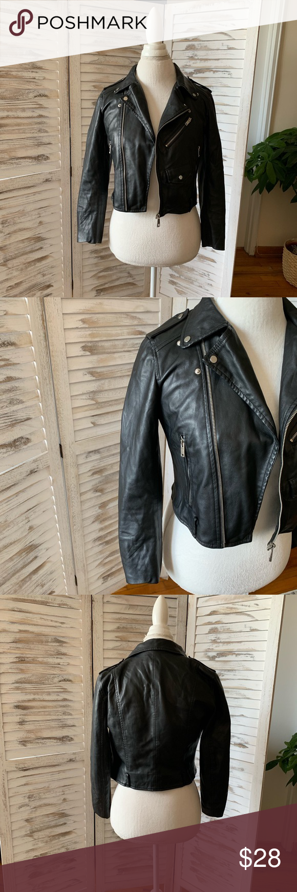 Zara faux leather moto jacket s small black Faux leather