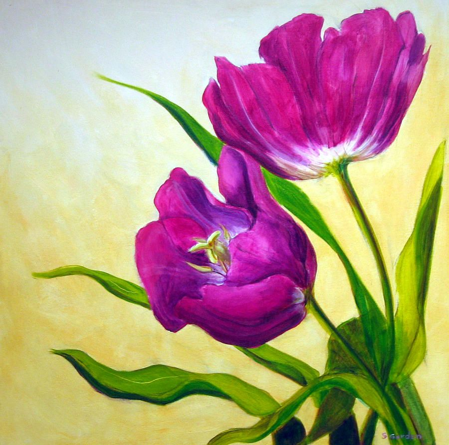 Purple Tulips  Time lapse  Tulip painting Purple tulips