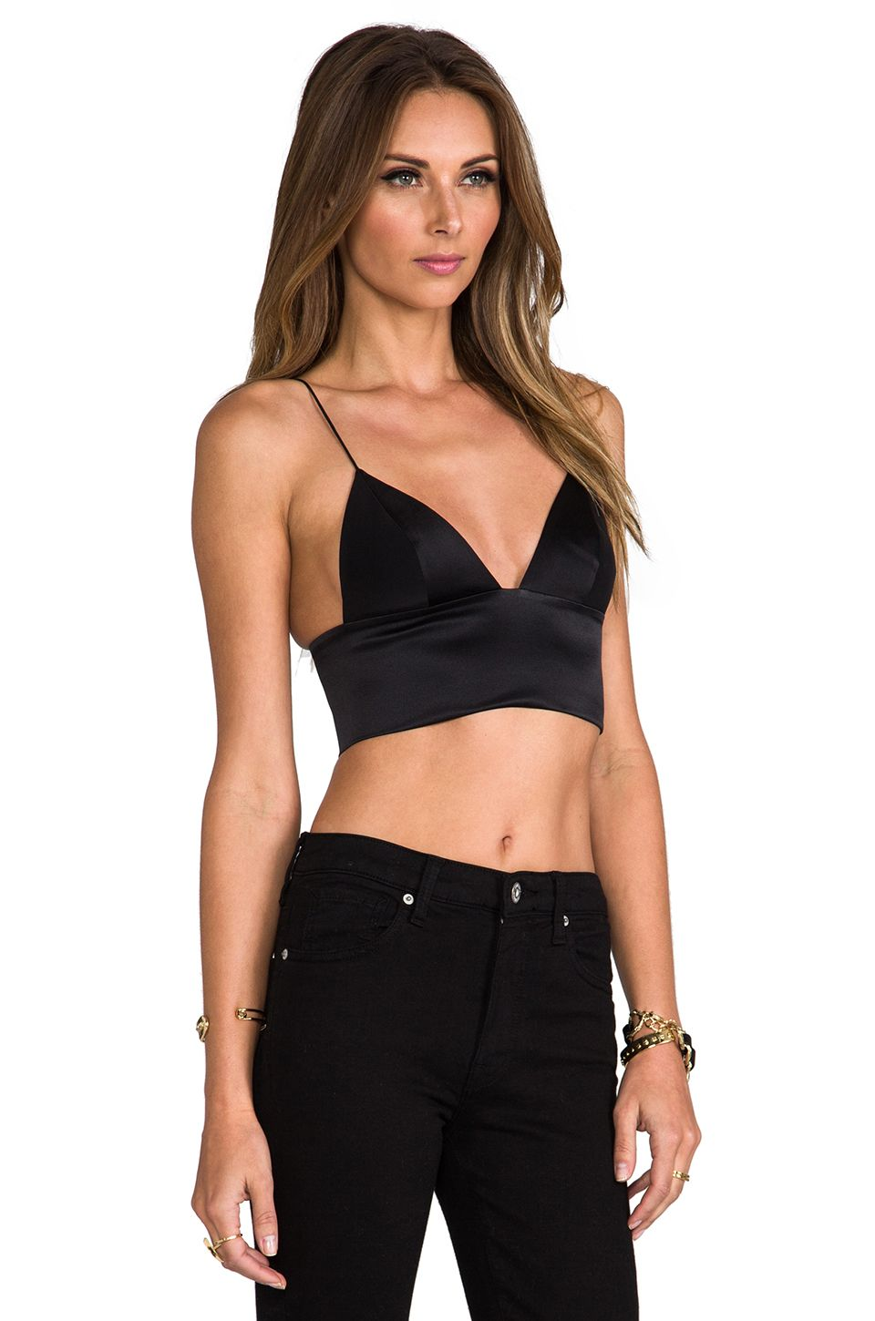 db1bf9b0e5 T by Alexander Wang Silk Satin Triangle Bralette in Black