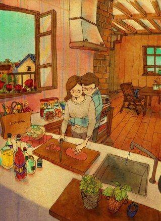 Amor es preparar la comida juntos