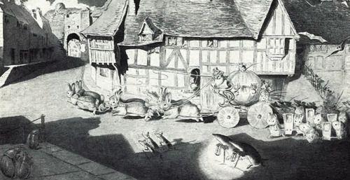 Beatrix Potter's illustrations for Cinderella. She drew them for fun, never intending publication.