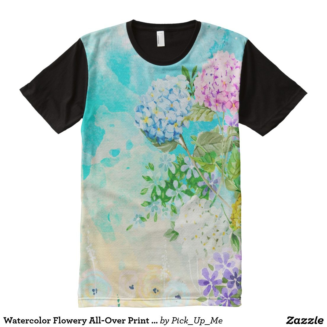 Watercolor Flowery All Over Print T Shirt Sun Shirt Shirt