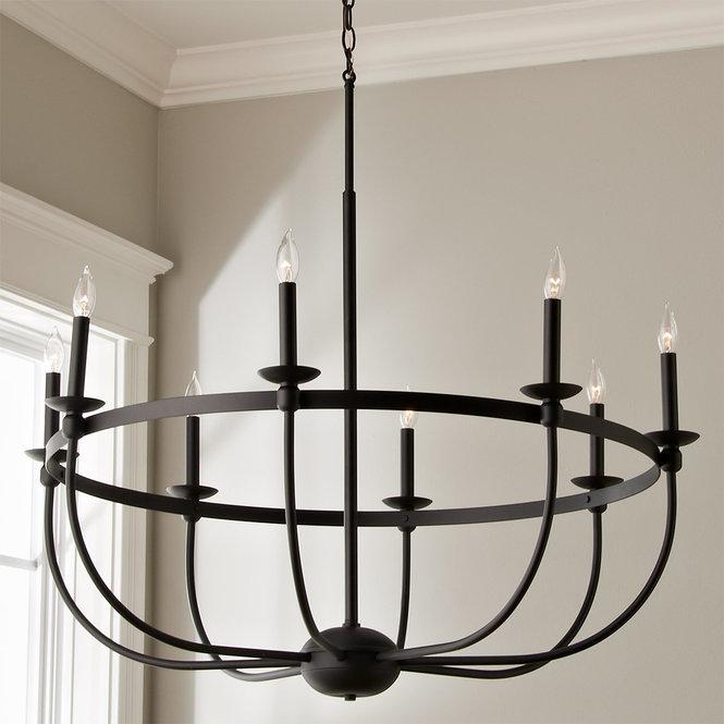 Simply Black Basket Chandelier 8 Light Wrought Iron Lights
