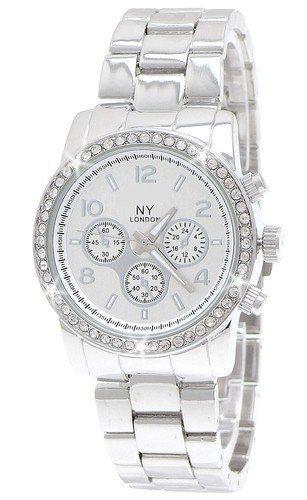 Ny London Designer Damenuhr Damen Strass Uhr In Chronograph Optik Silber Damenuhr Uhr Silber