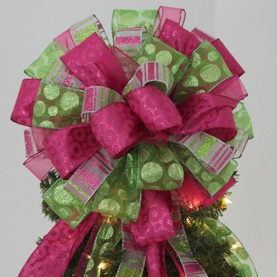 Large Lime Green Hot Pink Christmas Tree Bow Topper Mantel Wreath Christmas Tree Topper Bow Pink Christmas Tree Tree Topper Bow