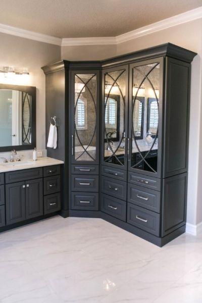 Master Bathroom Remodel With Custom, Antique Mirrored Glass Inlay Cabinet  Doors In Storage Towers In Deep Gray (with Matching Vanity).