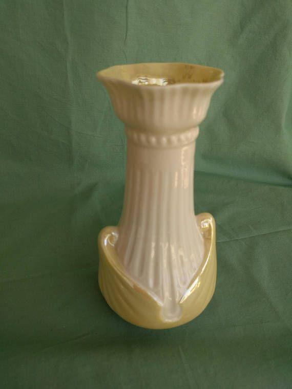 Irish Belleek Vase Porcelain Yellow Luster Vintage Collectible