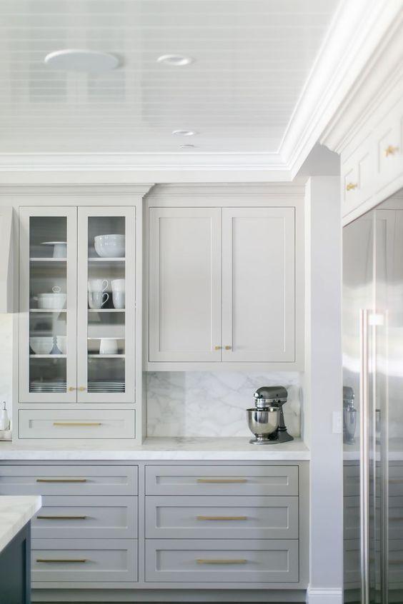 Gorgeous Light Grey Cabinets, Marbled Countertops U0026 Backsplash, White Trim  U0026 Gold Hardware. ❤️