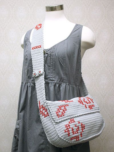 Rose Messenger Bag. Not sure about those colors but this is a cute pattern!