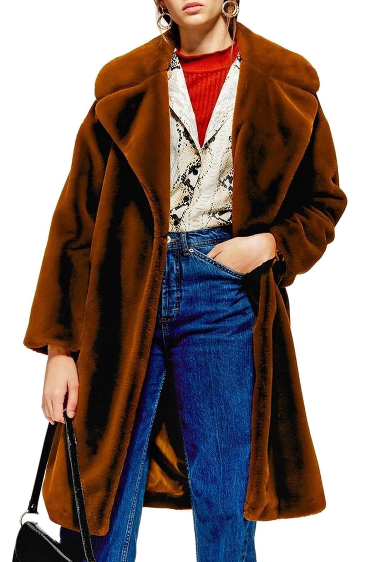 Bella Velvet Faux Fur Coat Brown faux fur coat