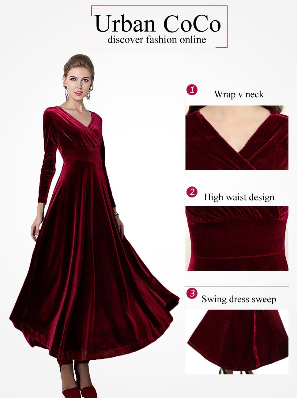 72efa0aa7bd Amazon.com  Urban CoCo Women long sleeve V-neck Velvet Stretchy Long Dress   Clothing