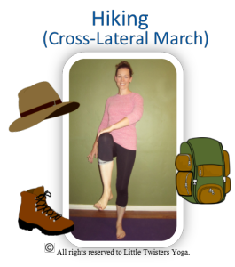 hikingcrosslateral march pose card  yoga for kids kids