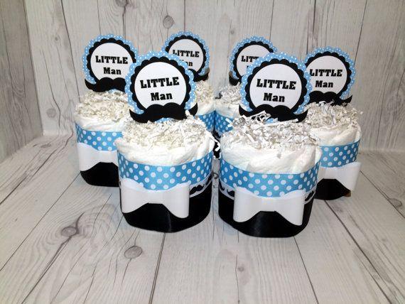 Set Of 4 Turquoise U0026 Black Mini Little Man Diaper Cake Centerpieces, Boy  Diaper Cake, Baby Shower Centerpiece Set