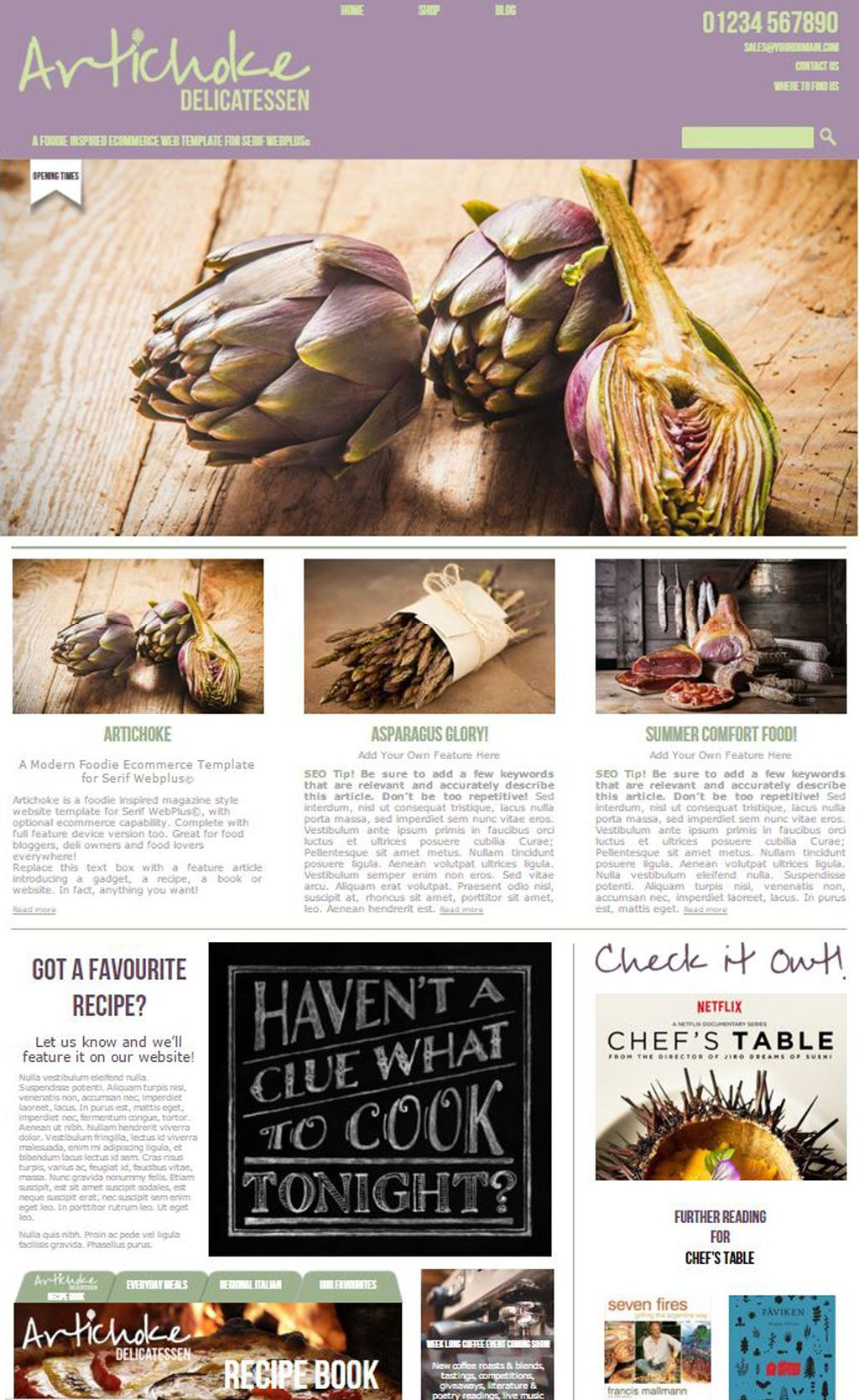 Artichoke Deli Template Sample Homepage | Templates for Serif ...