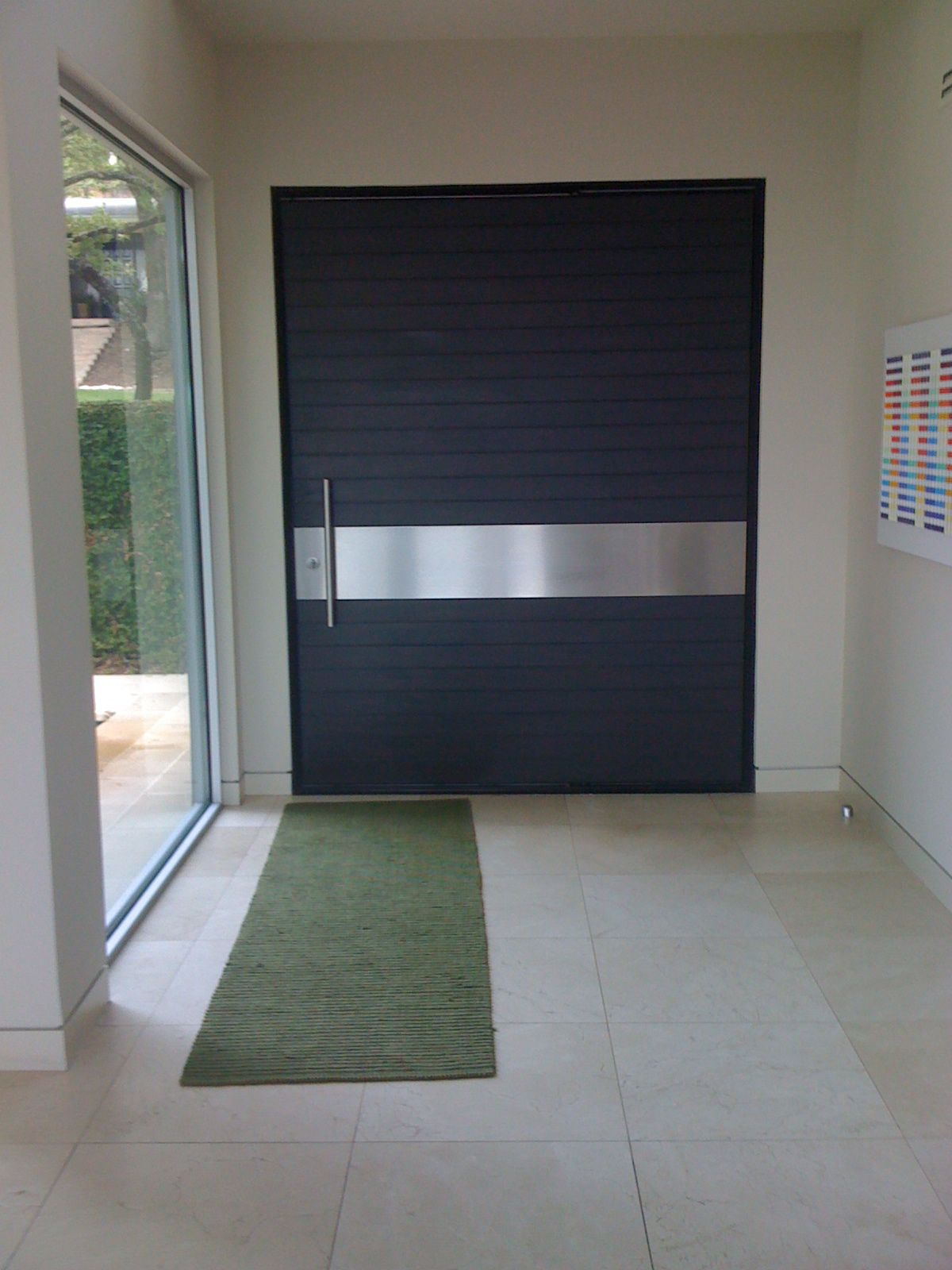 Creative Black Wooden Large Single Modern Front Door With Aluminium