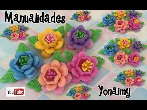 flores triples con pistilos de foamy o goma eva hechas con moldes de youtube