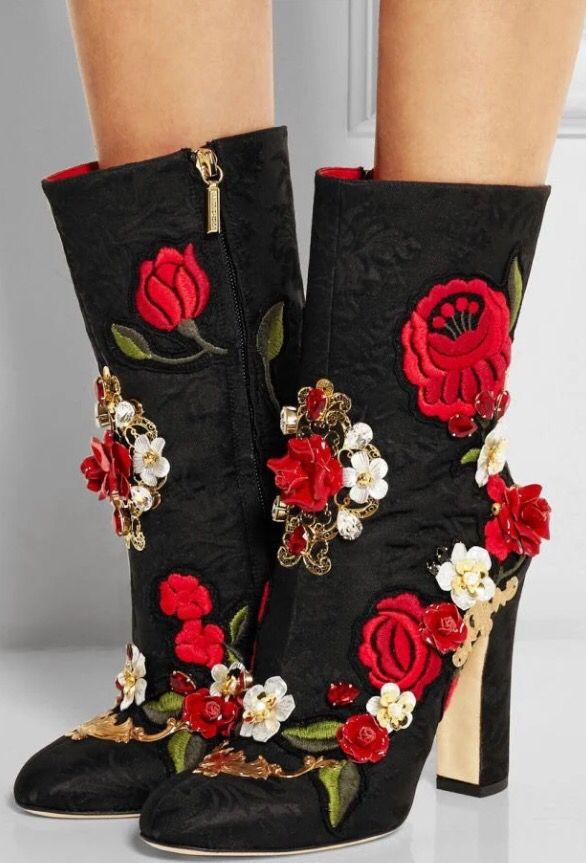 Dolce & Gabbana Embellished Brocade Boots $3,395.00   Boots