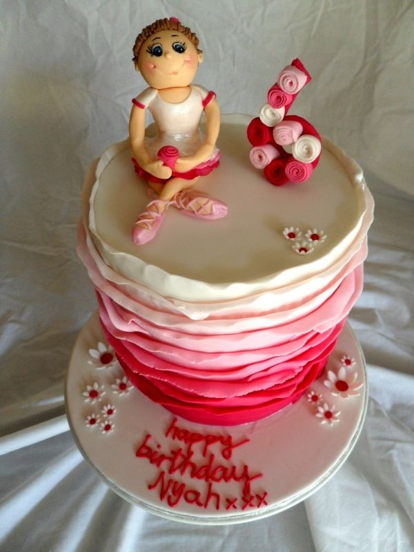 Ballerina Cake (I love the little roses/curls/spirals on the 6)