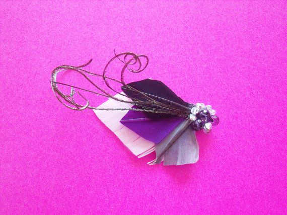 Small Feather Clip - Purple Grey and Black Feather Fascinator - Bridal Feather Clip