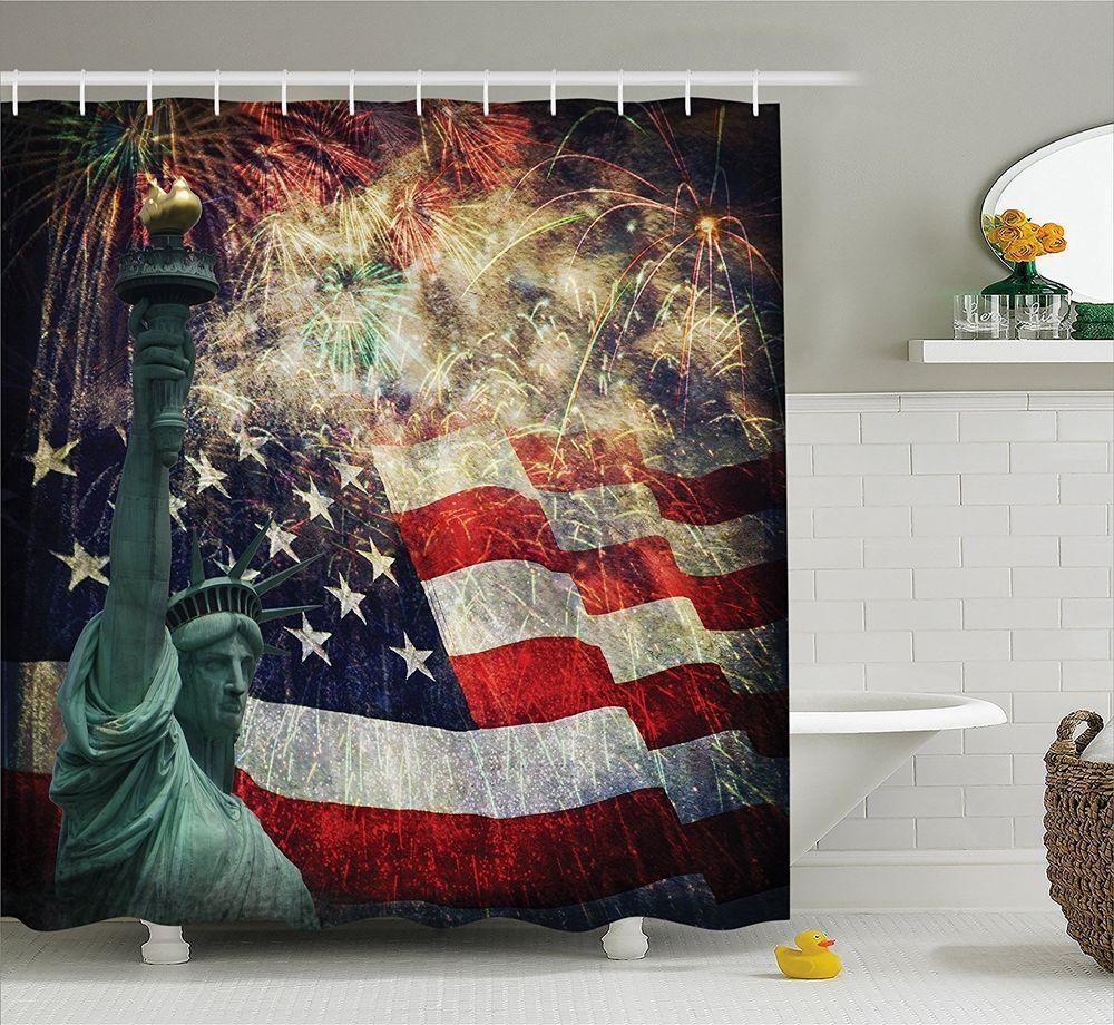 American Flag Shower Curtain Fabric Bathroom Decor Set Hooks