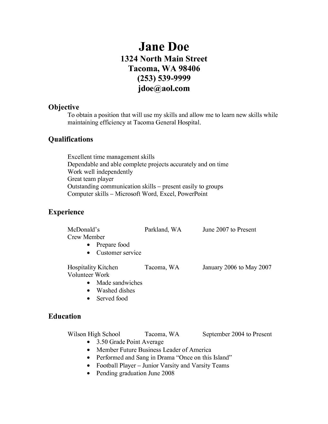 Resume For Fastfood