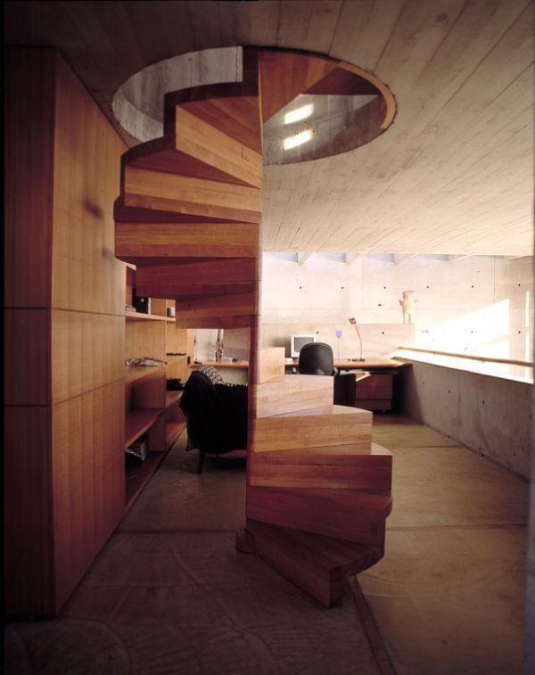 spindeltreppe aus holz treppen ohne gel nder modern. Black Bedroom Furniture Sets. Home Design Ideas