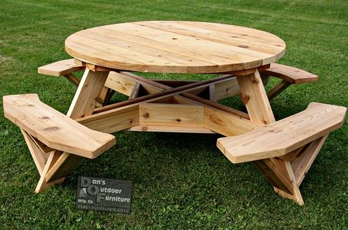 Round picnic table wood table design ideas wood magazine picnic table google search watchthetrailerfo