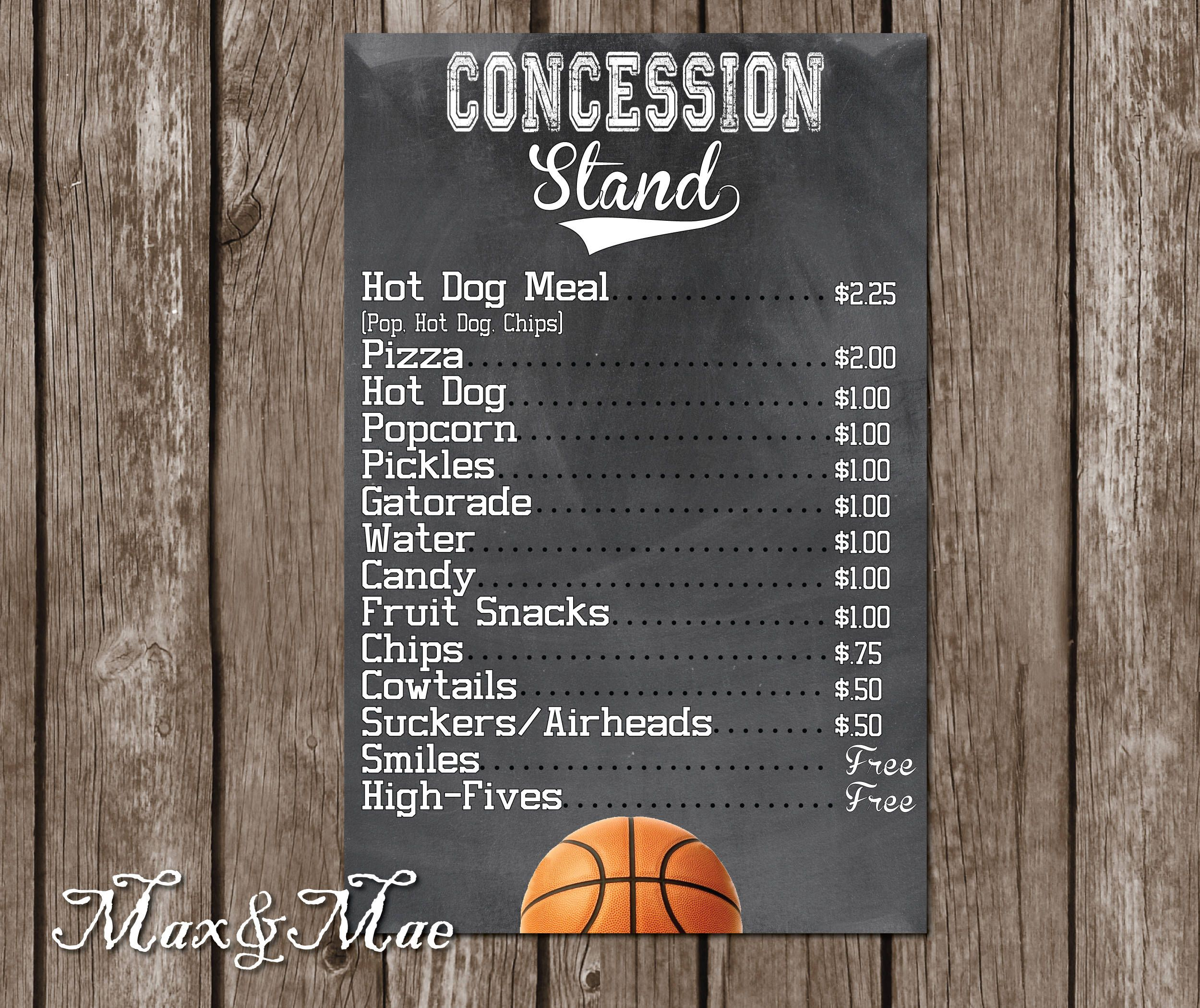 graphic regarding Concession Stand Signs Printable called Pin via Carissa Valus Pouy upon C-Bears Birthday Get together Plans