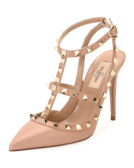 b5f8f9f22068d9 VALENTINO Rockstud Leather Caged Pump