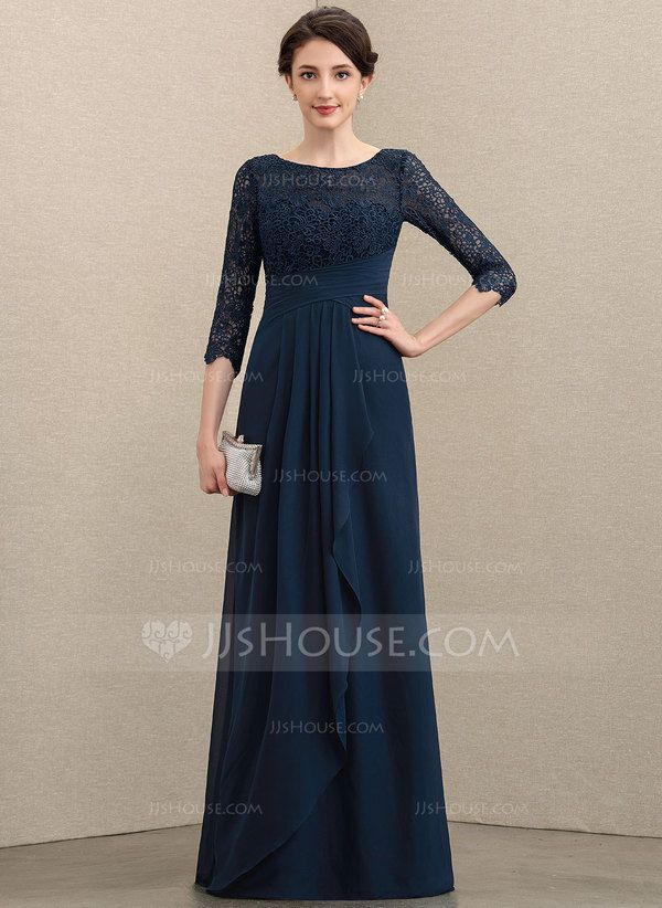 A-Line Scoop Neck Floor-Length Chiffon Lace Mother of the ...