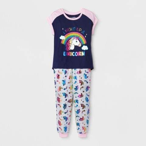 c040089b5f28 EmojiNation Girls  Emoji  I Woke Up A Unicorn  Graphic 2pc Pajama Set -  Navy Pink