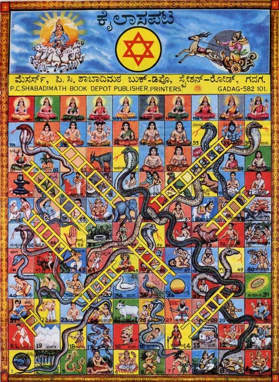 Kailasa Pata A Version of Snakes and Ladders Board