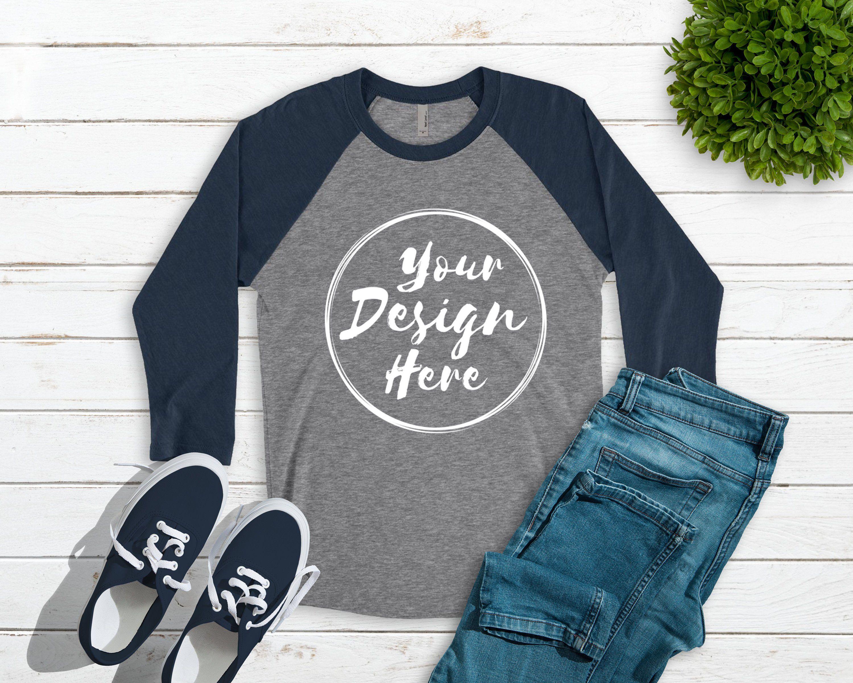 Download Next Level 6051 Indigo Premium Heather Unisex Baseball T Shirt Etsy Clothing Mockup Shirt Mockup Mockup Free Psd