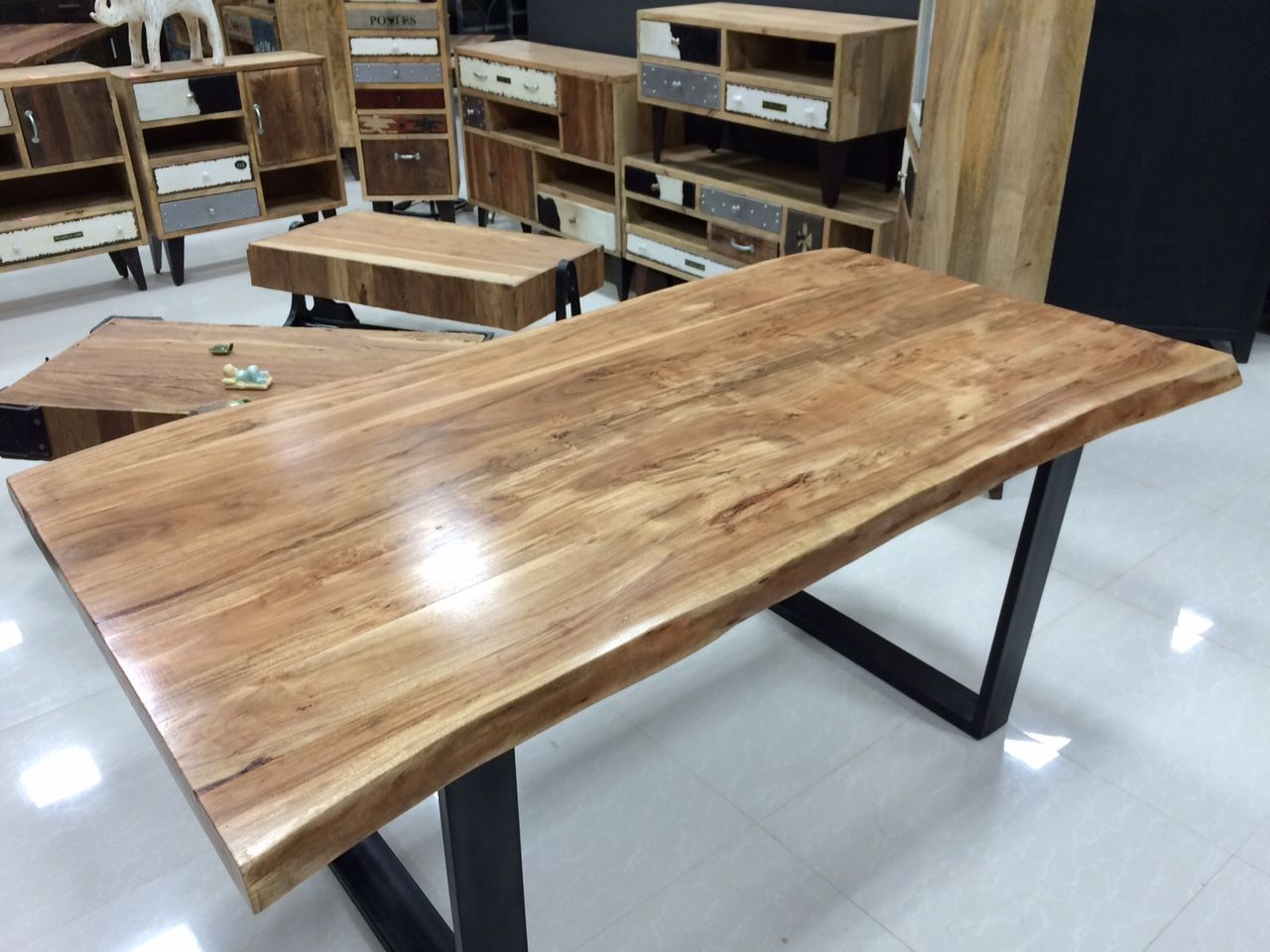 Freeform  live edge dining table made of solid acacia wood with black U  shaped steel. Freeform  live edge dining table made of solid acacia wood with
