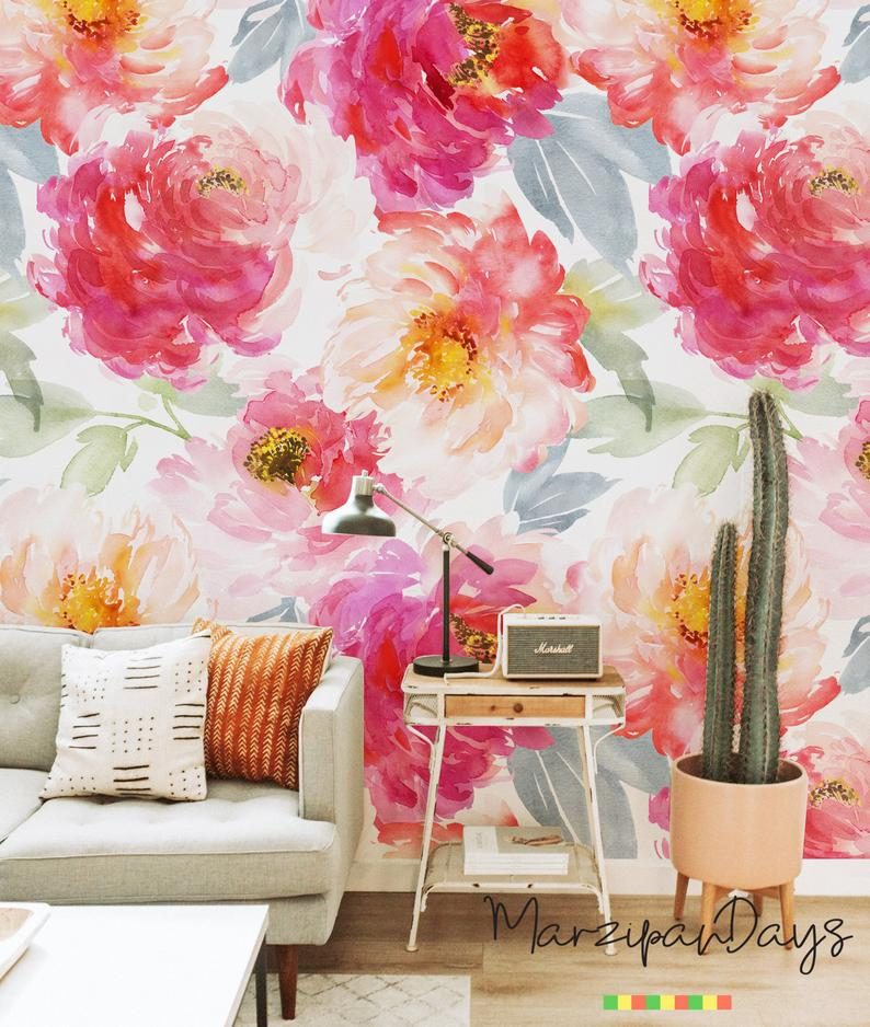 Colorfur Bloemen Verwisselbare Wallpaper Roze Muur Etsy Mural Pink Walls Wall Wallpaper