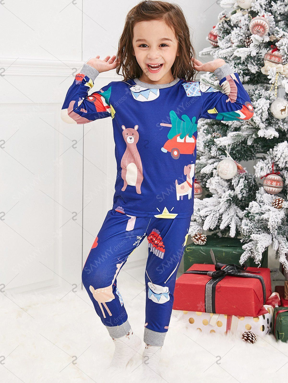 Christmas Cartoon Animal Print Family Pajama Sets Blue